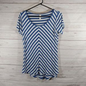 🎉 Lularoe blue gray striped perfect tee